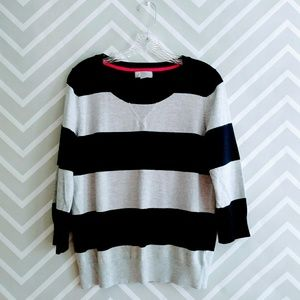 JCP cashmere blend navy gray stripes sweater